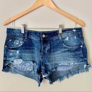 ZARA Trafaluc Denim Shorts Blue Bandana Pockets
